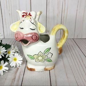 Vintage Ceramic Shabby Chic Kitchy Cow Creamer